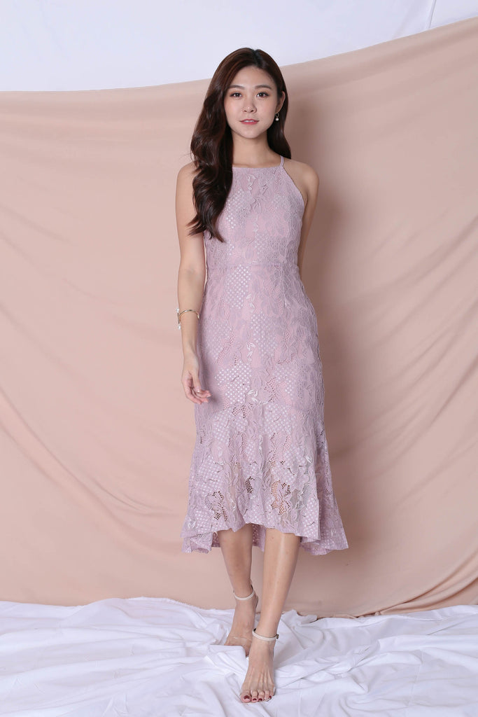 *TPZ* (PREMIUM) PEARLETTE LACE DRESS IN DUSTY PINK - TOPAZETTE