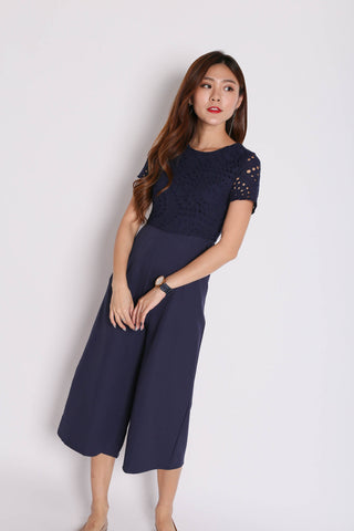 *TPZ* (PREMIUM) JOAII EYELET CULOTTES JUMPSUIT IN NAVY