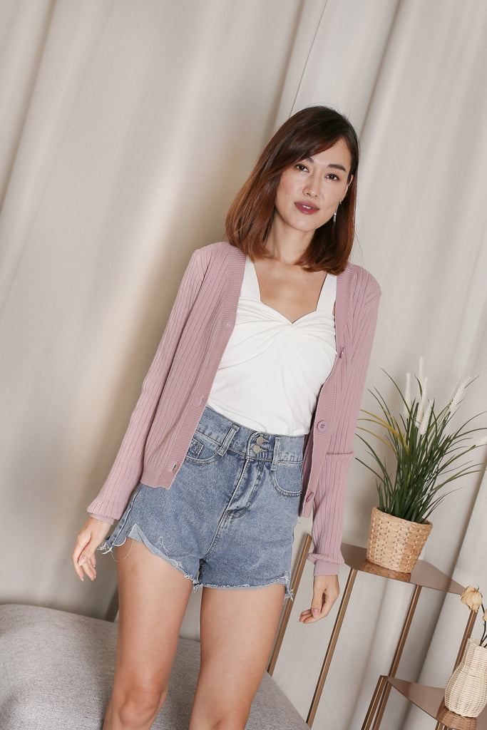 *BACKORDER* LIZ KNIT CARDIGAN IN DUSTY PINK