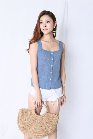 POLKA DOT BUTTONED TOP IN PASTEL BLUE