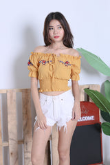 VEDA EMBROIDERY TOP IN MUSTARD