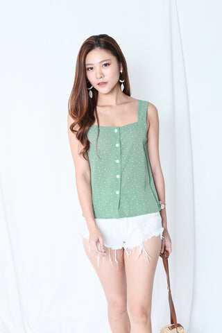 POLKA DOT BUTTONED TOP IN PASTEL GREEN