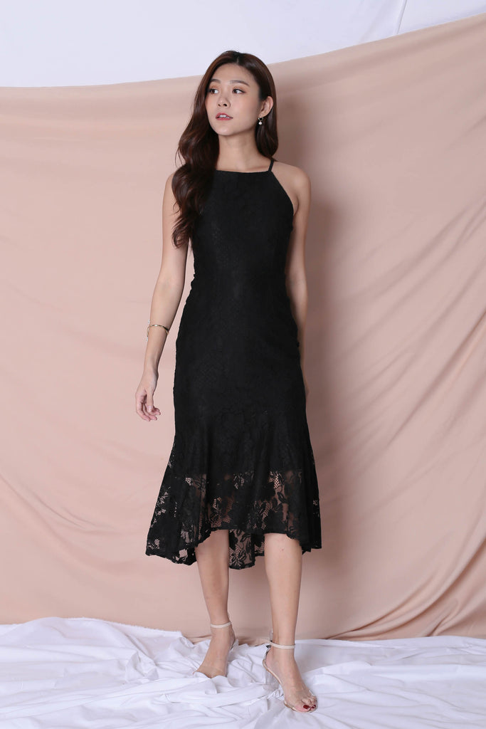 *TPZ* (PREMIUM) PEARLETTE LACE DRESS IN BLACK - TOPAZETTE