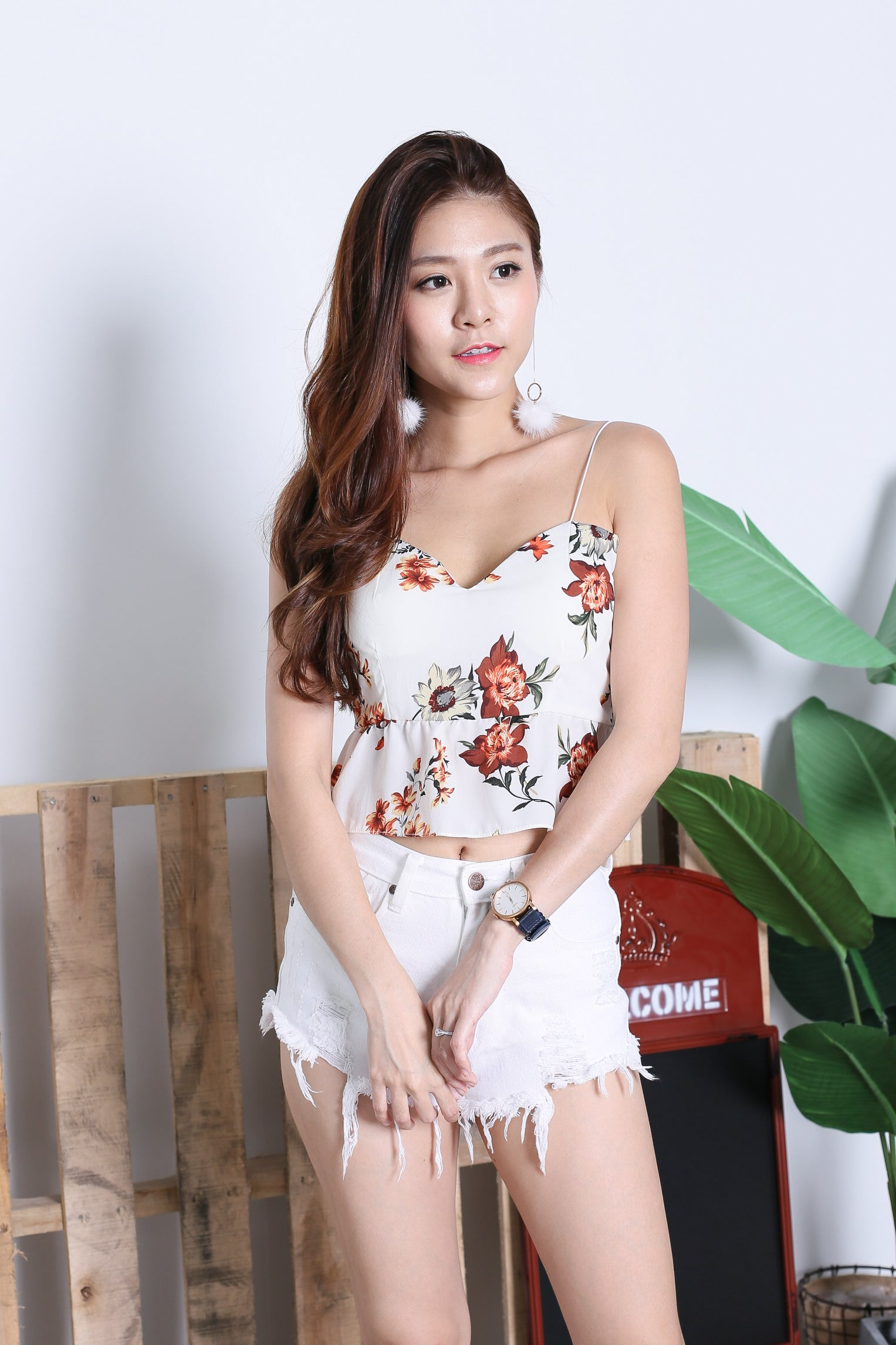 ADDILYN FLORAL TIE BACK TOP IN OFF WHITE