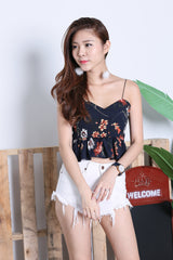 ADDILYN FLORAL TIE BACK TOP IN NAVY