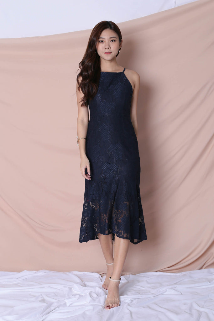 *TPZ* (PREMIUM) PEARLETTE LACE DRESS IN NAVY - TOPAZETTE