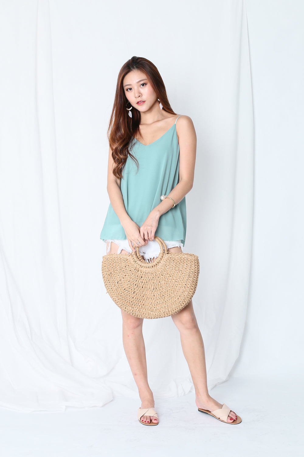 CRISS CROSS SPAG TOP IN DUSTY CYAN