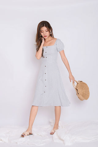 *TPZ* (PREMIUM) RUSETTE GINGHAM MIDI IN GREY