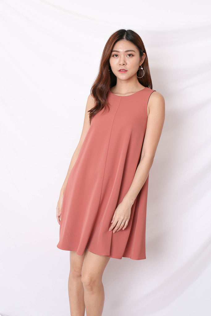 *TPZ* (PREMIUM) KIN 4 WAYS TRAPEZE DRESS (NAVY/ TEA ROSE)