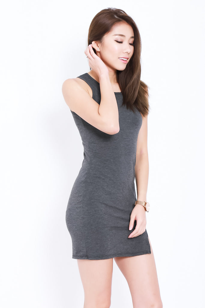 TANKFUL FOR YOU DRESS IN DARK GREY - TOPAZETTE