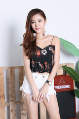 ADDILYN FLORAL TIE BACK TOP IN BLACK
