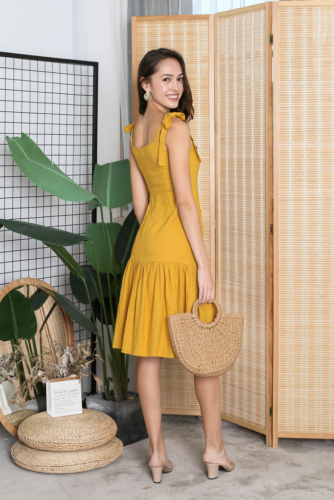 *TPZ* (PREMIUM) QUIANA LINEN DRESS IN MUSTARD