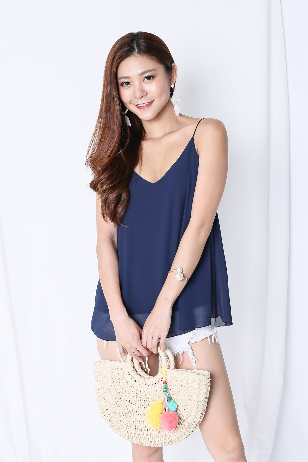 CRISS CROSS SPAG TOP IN NAVY