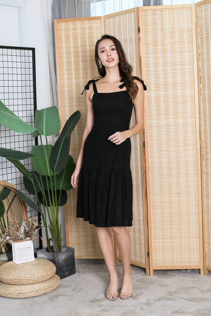*TPZ* (PREMIUM) QUIANA LINEN DRESS IN BLACK