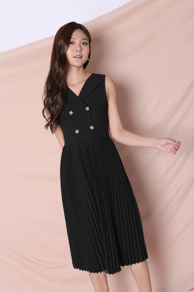 *TPZ* (PREMIUM) JEN TUXEDO PLEATED DRESS IN BLACK - TOPAZETTE