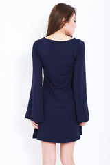 *RESTOCKED* BREE LACED BELL SLEEVES DRESS IN NAVY - TOPAZETTE