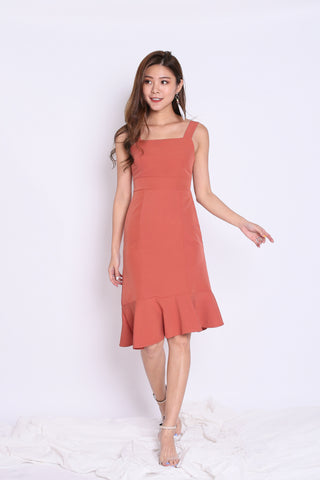 *TPZ* (PREMIUM) UMI RUFFLES MERMAID DRESS IN CORAL