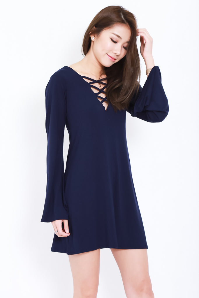 BREE LACED BELL SLEEVES DRESS IN NAVY - TOPAZETTE