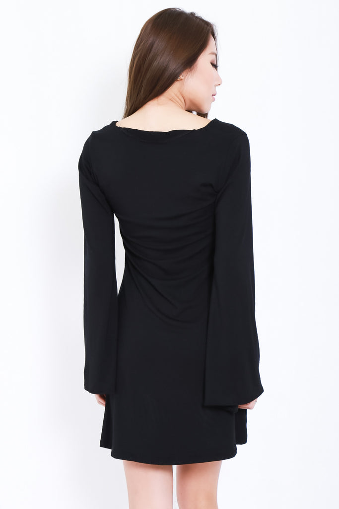 BREE LACED BELL SLEEVES DRESS IN BLACK - TOPAZETTE