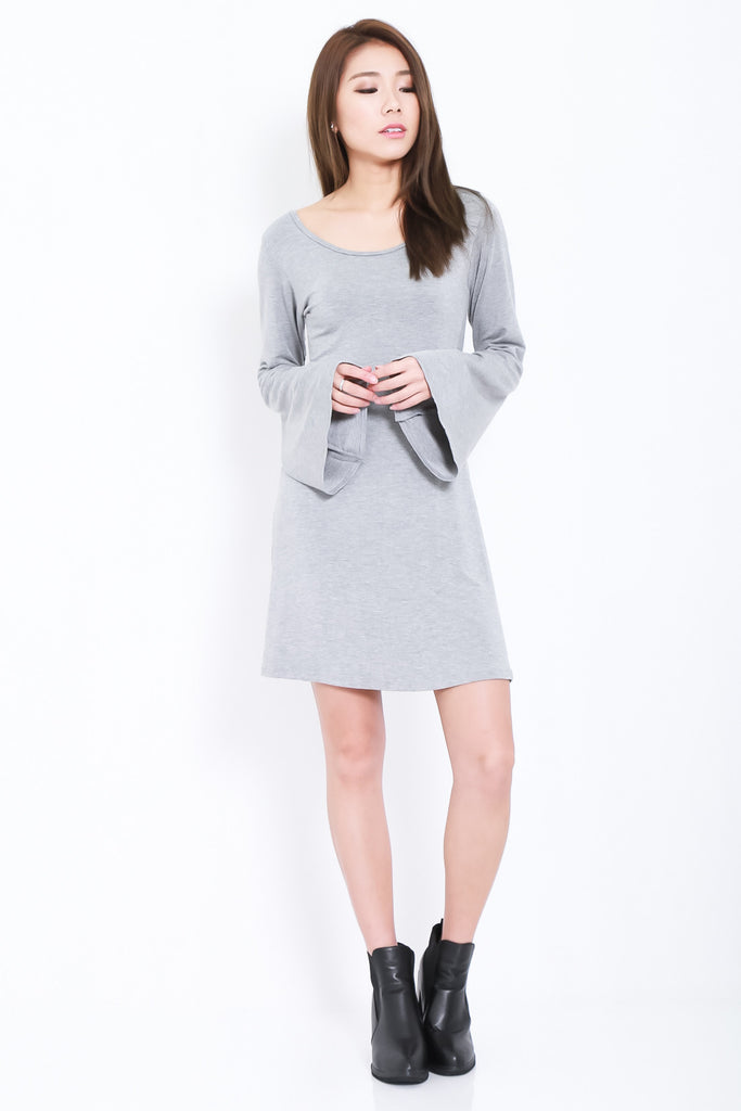 BREE LACED BELL SLEEVES DRESS IN LIGHT GREY - TOPAZETTE
