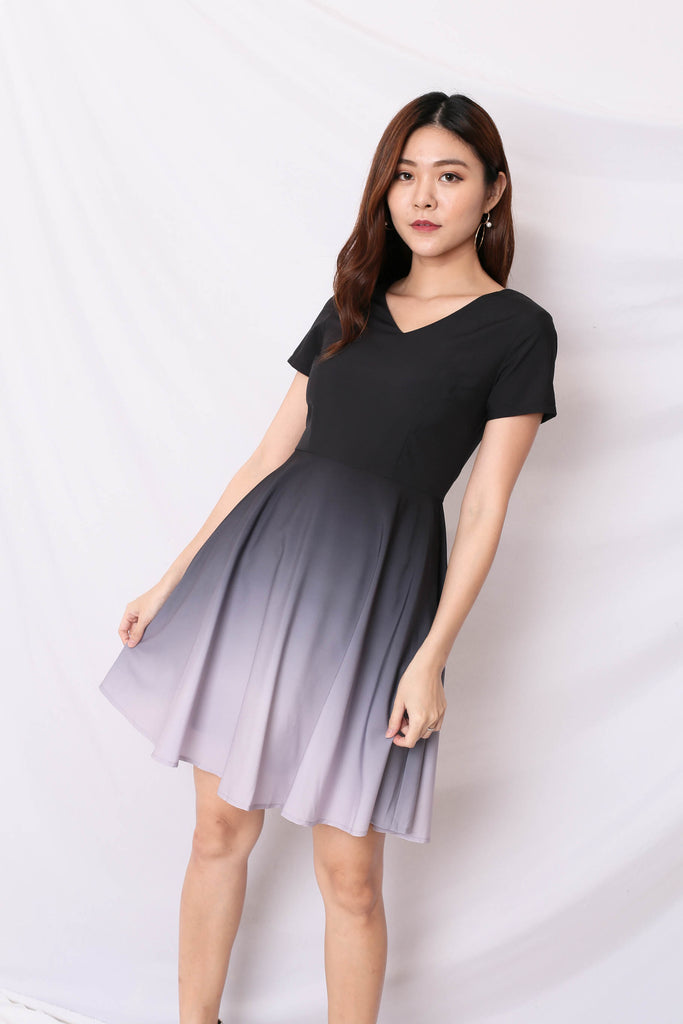 *TPZ* (PREMIUM) ILLYS OMBRE DRESS (BLACK/ LILAC GREY)