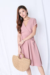 (PREMIUM) HANNAH POCKET MIDI DRESS IN DUSTY PINK