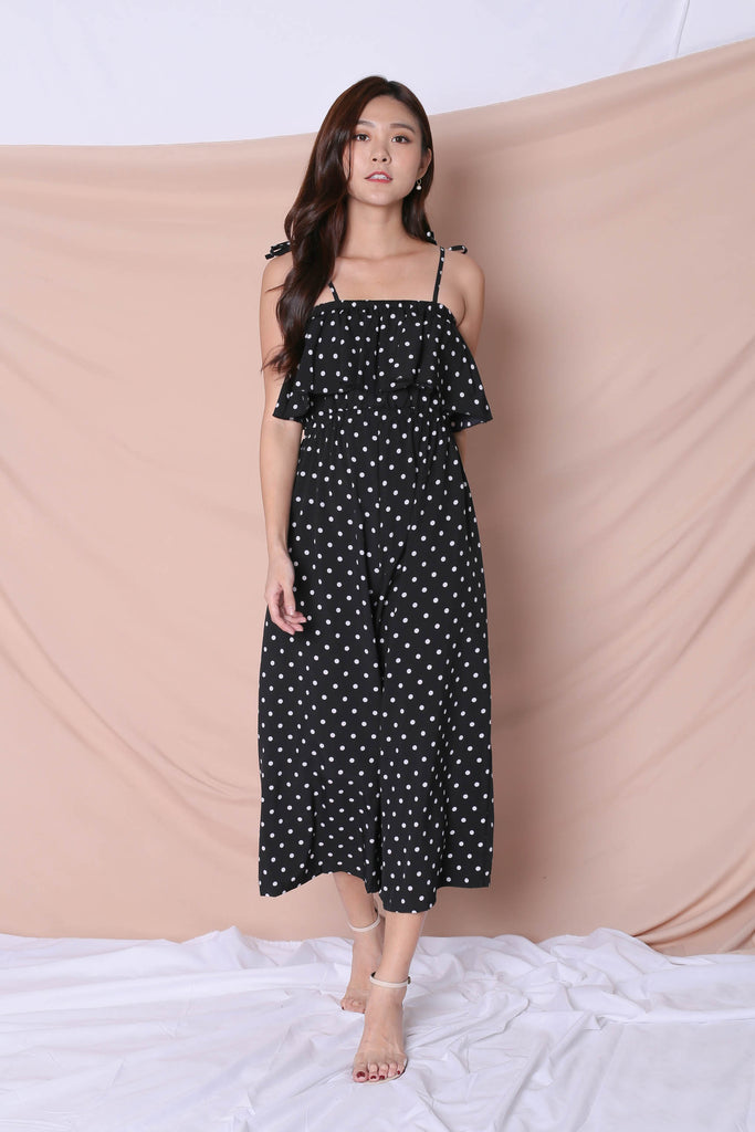YODA POLKA DOT JUMPSUIT IN BLACK - TOPAZETTE