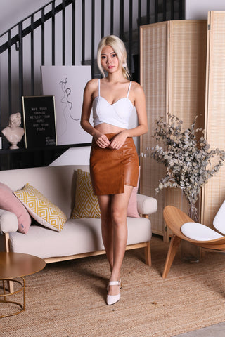 KELTIS LEATHER SKIRT IN CAMEL