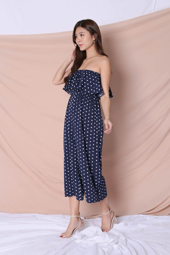 YODA POLKA DOT JUMPSUIT IN NAVY - TOPAZETTE