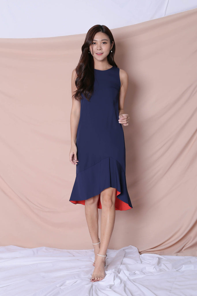 *TPZ* (PREMIUM) KALLYN ASYMMETRICAL DRESS (NAVY/ ORANGE) - TOPAZETTE
