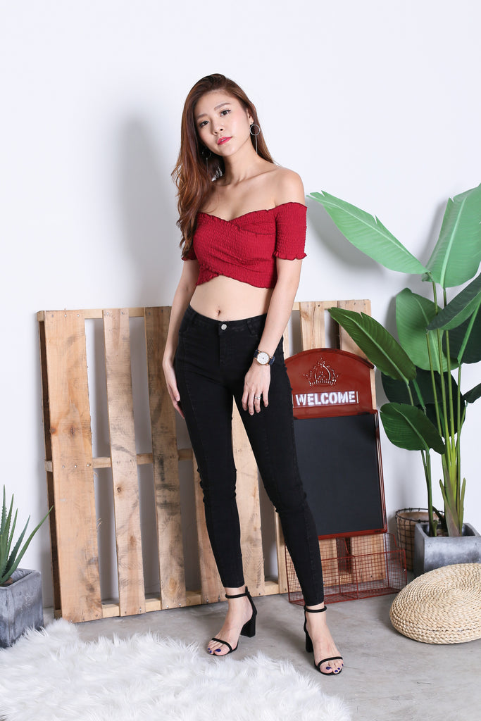 SMOCKED CROSSOVER CROP TOP IN WINE - TOPAZETTE