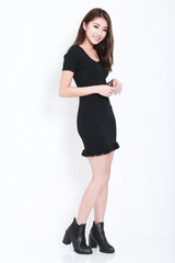 (RESTOCKED) MERMAID SLEEVED FRILL DRESS IN BLACK - TOPAZETTE