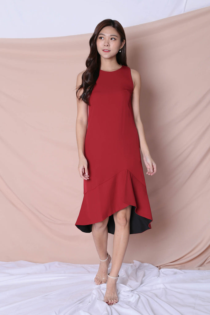 *TPZ* (PREMIUM) KALLYN ASYMMETRICAL DRESS (WINE/ BLACK) - TOPAZETTE