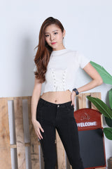 JUNCE SLEEVED LACE KNIT TOP IN WHITE