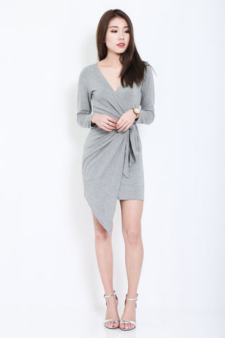 (RESTOCKED) DRAPE WRAP DRESS IN LIGHT GREY - TOPAZETTE