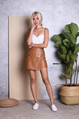 TAYE LEATHER SKIRT IN CAMEL