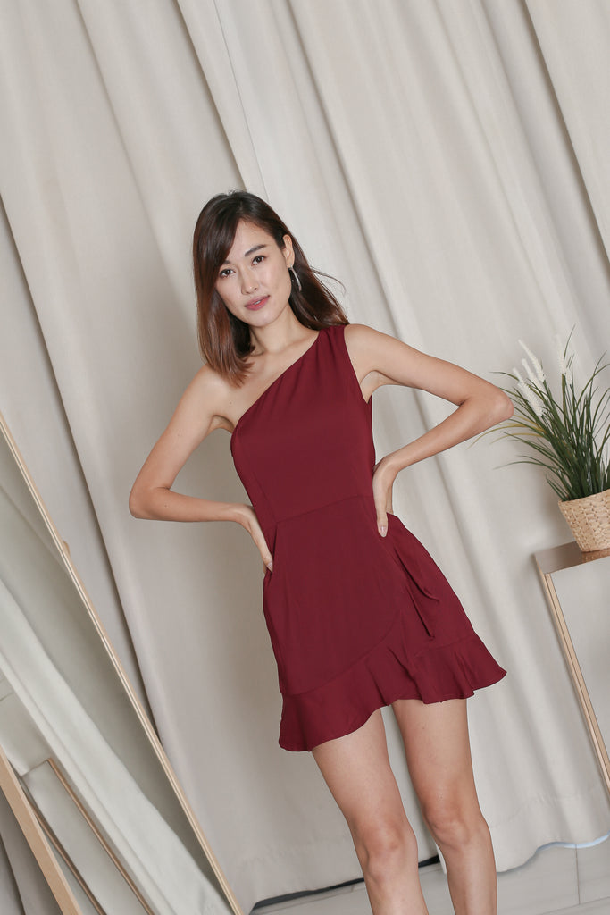*TPZ* ZENICA TOGA RUFFLES DRESS ROMPER IN BURGUNDY