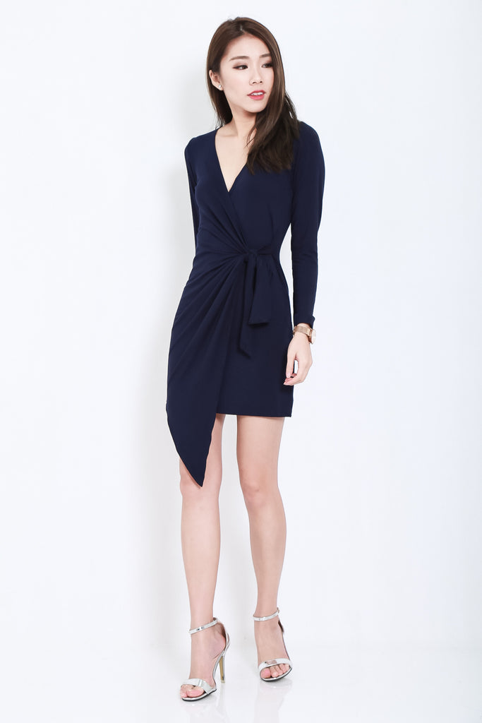 *BACKORDER* DRAPE WRAP DRESS IN NAVY - TOPAZETTE