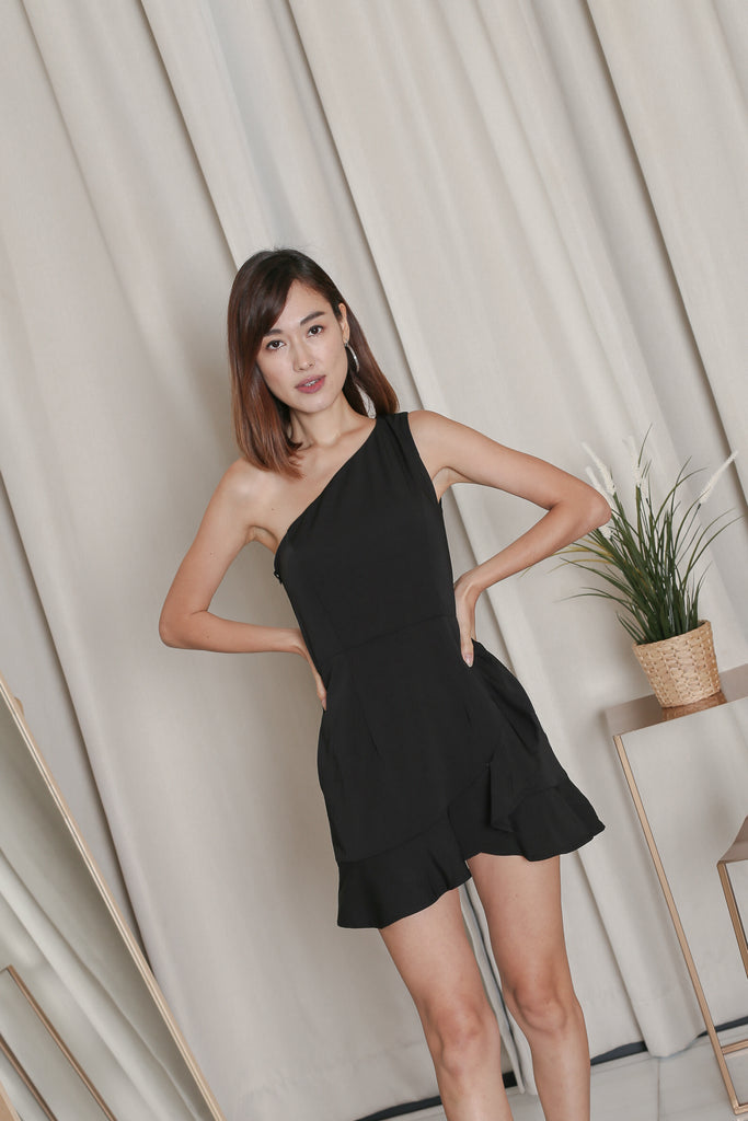 *TPZ* ZENICA TOGA RUFFLES DRESS ROMPER IN BLACK