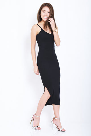 (RESTOCKED) RILEY KNIT SPAG DRESS IN BLACK - TOPAZETTE