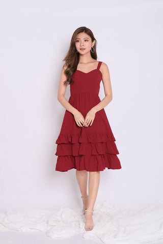 *TPZ* (PREMIUM) YARA SWEETHEART RUFFLES DRESS IN BURGUNDY