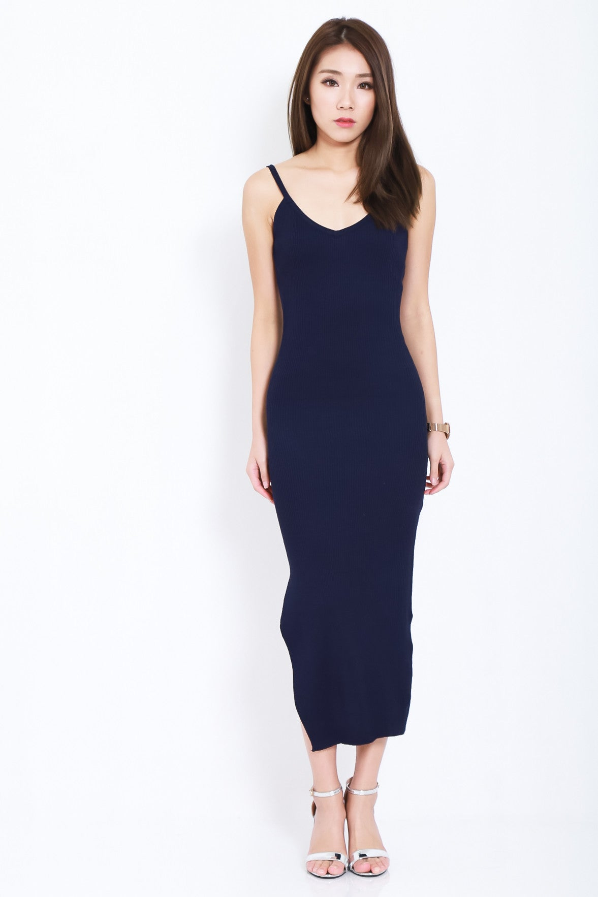 (BACKORDER 2) RILEY KNIT SPAG DRESS IN NAVY - TOPAZETTE