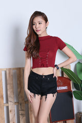 JUNCE SLEEVED LACE KNIT TOP IN WINE