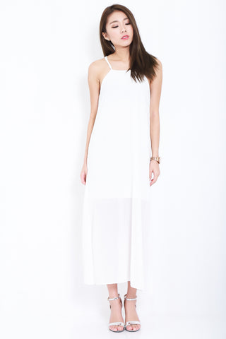 ALICIA CHIFFON SLIT MAXI IN WHITE - TOPAZETTE