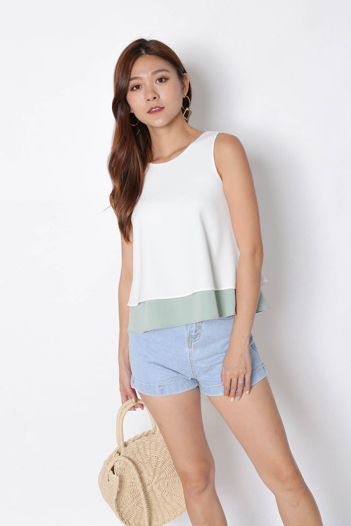 *TPZ* (PREMIUM) SKYE REVERSIBLE 4 WAYS TOP (WHITE/ SAGE GREEN) - TOPAZETTE