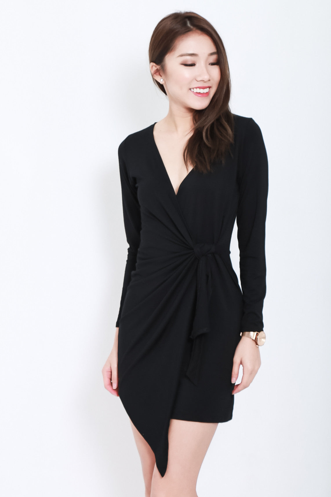 (BACKORDER) DRAPE WRAP DRESS IN BLACK - TOPAZETTE
