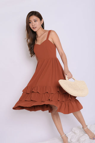 *TPZ* (PREMIUM) YARA SWEETHEART RUFFLES DRESS IN RUST
