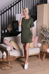 OFF DUTY WRAP AROUND DRESS IN OLIVE