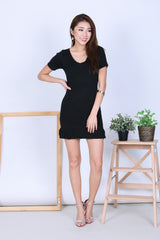 MERMAID SLEEVED DRESS V.2 IN BLACK - TOPAZETTE