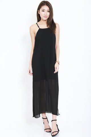 ALICIA CHIFFON SLIT MAXI IN BLACK - TOPAZETTE